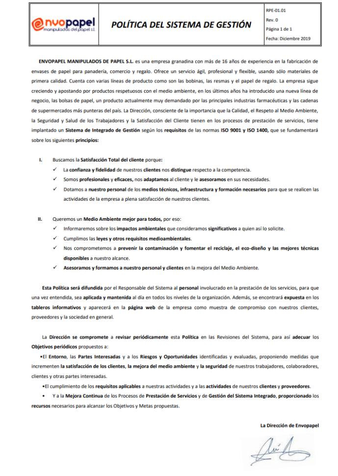 Política del Sistema Gestión 2020 MR